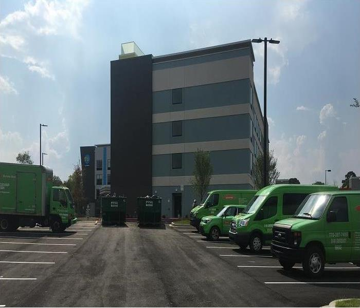 SERVPRO vehicles on commercial job