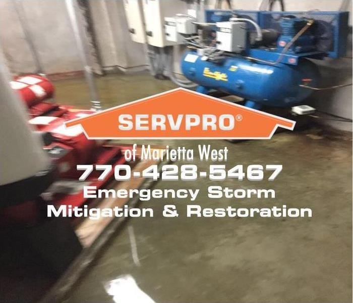 commercial facility basement flooded during storm