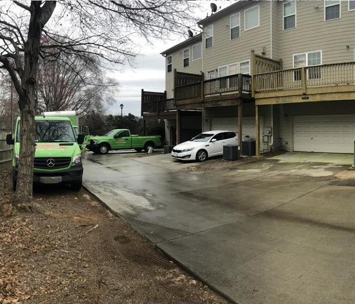 SERVPRO on site at storm damage insurance claim
