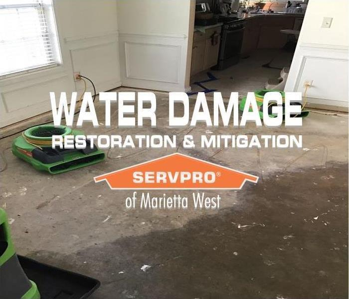 water damaged floor with drying equipment